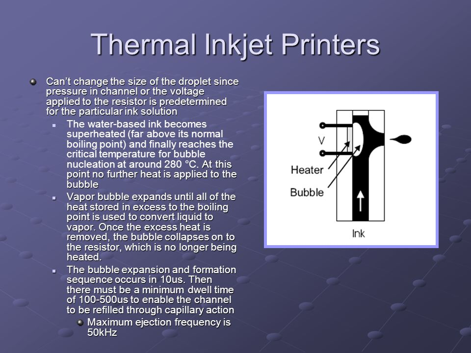 Thermal Inkjet Printers Cant change the size of the droplet since pressure in channel or the voltage applied to the resistor is predetermined for the