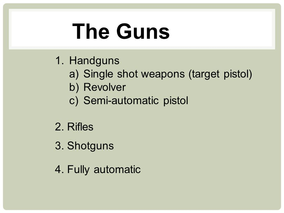 MANUAL, SEMI-AUTOMATIC AND AUTOMATIC In manual guns, the user must insert a round into the chamber, either manually or through the action of the weapon (e.g.