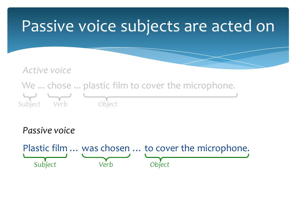 Passive voice differs from 3rd person Plastic film … was chosen … to cover the microphone.