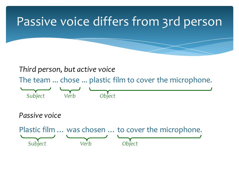 Remember tense and number Active VoicePassive voice I finish a project in eight hours.