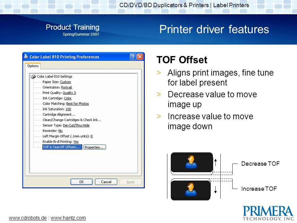 CD/DVD/BD Duplicators & Printers | Label Printers Product Training Spring/Summer 2007 www.cdrobots.dewww.cdrobots.de | www.hantz.comwww.hantz.com Printer driver features TOF Offset Aligns print images, fine tune for label present Decrease value to move image up Increase value to move image down Decrease TOF Increase TOF