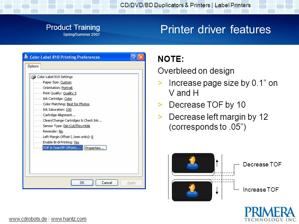 CD/DVD/BD Duplicators & Printers | Label Printers Product Training Spring/Summer 2007 www.cdrobots.dewww.cdrobots.de | www.hantz.comwww.hantz.com Printer driver features NOTE: Overbleed on design Increase page size by 0.1 on V and H Decrease TOF by 10 Decrease left margin by 12 (corresponds to.05) Decrease TOF Increase TOF
