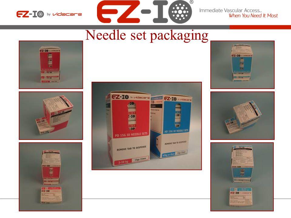 Catheter & Stylet The EZ-IO Needle Sets Needle Set Safety Cap Catheter & Catheter Hub Stylet Hub Metal Disc EZ-IO Needle Set (safety cap removed) EZ-IO Needle Set (X-Ray View with safety cap) Specialized tip
