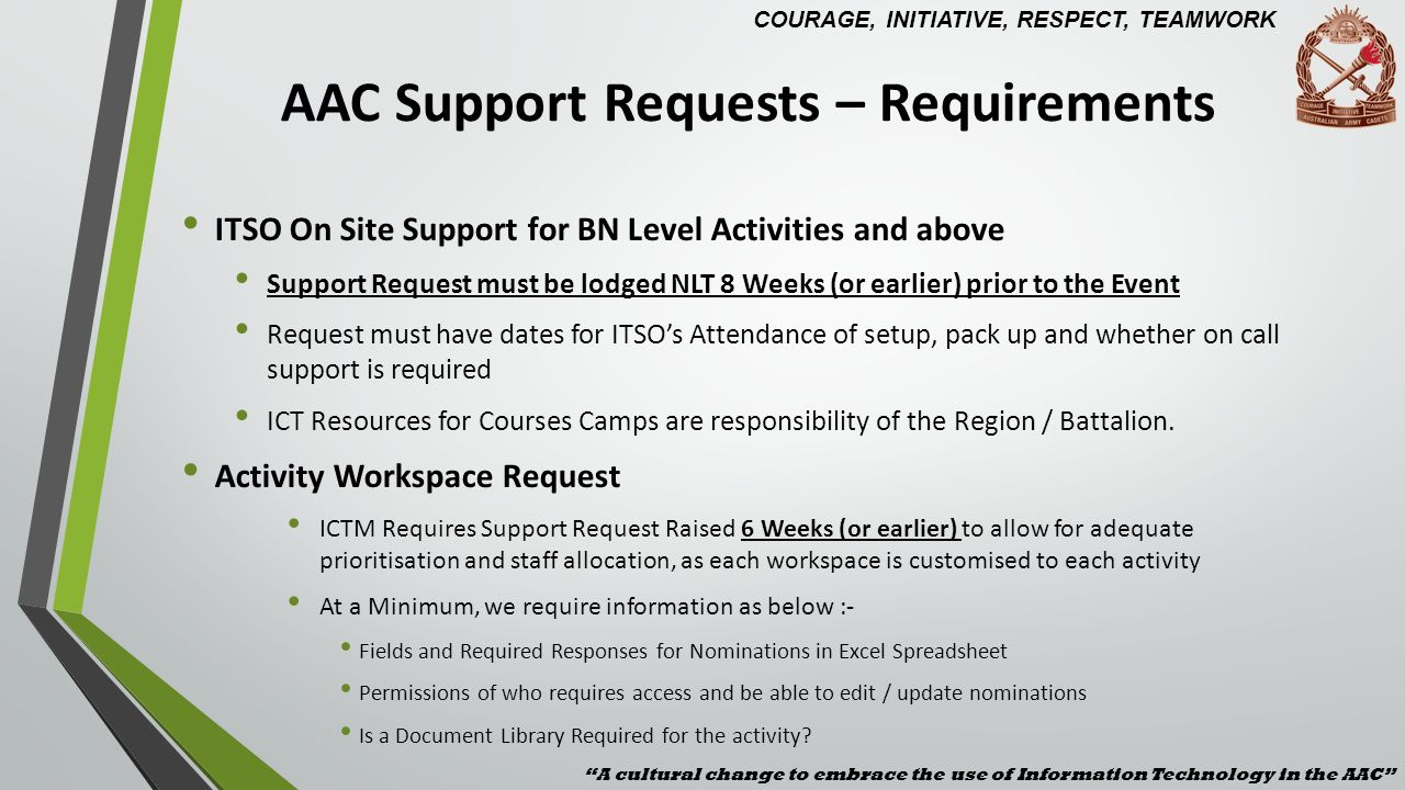 AAC Support Requests – Requirements ITSO On Site Support for BN Level Activities and above Support Request must be lodged NLT 8 Weeks (or earlier) pri