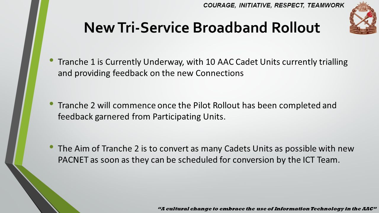 New Tri-Service Broadband Rollout Tranche 1 is Currently Underway, with 10 AAC Cadet Units currently trialling and providing feedback on the new Conne