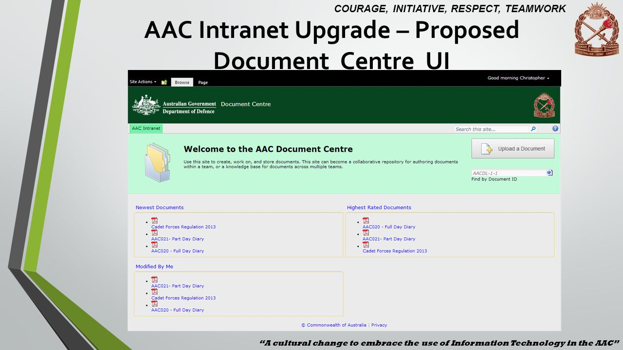 AAC Intranet Upgrade – Proposed Document Centre UI A cultural change to embrace the use of Information Technology in the AAC COURAGE, INITIATIVE, RESP