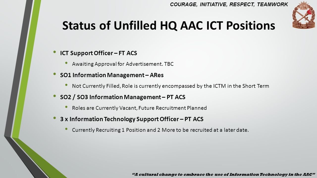 Closed AAC ICT Support Requests 2013 A cultural change to embrace the use of Information Technology in the AAC 867 Completed ICT Support Requests COURAGE, INITIATIVE, RESPECT, TEAMWORK