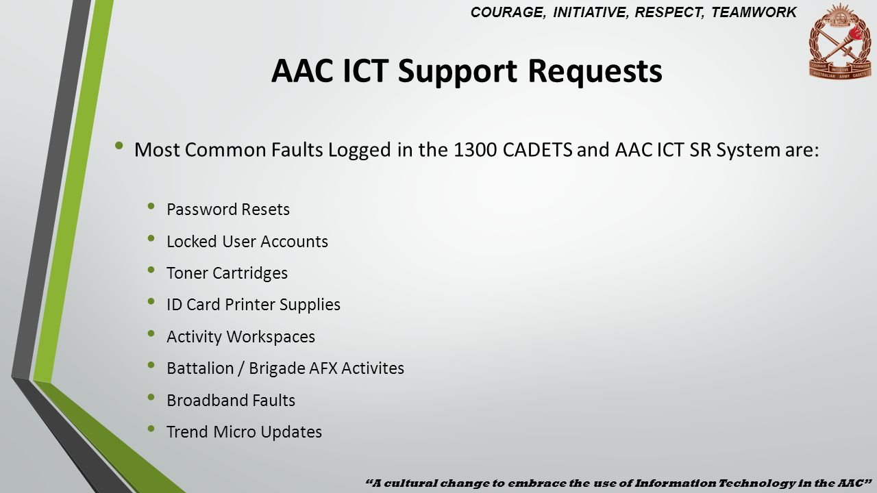 AAC ICT Support Requests Most Common Faults Logged in the 1300 CADETS and AAC ICT SR System are: Password Resets Locked User Accounts Toner Cartridges