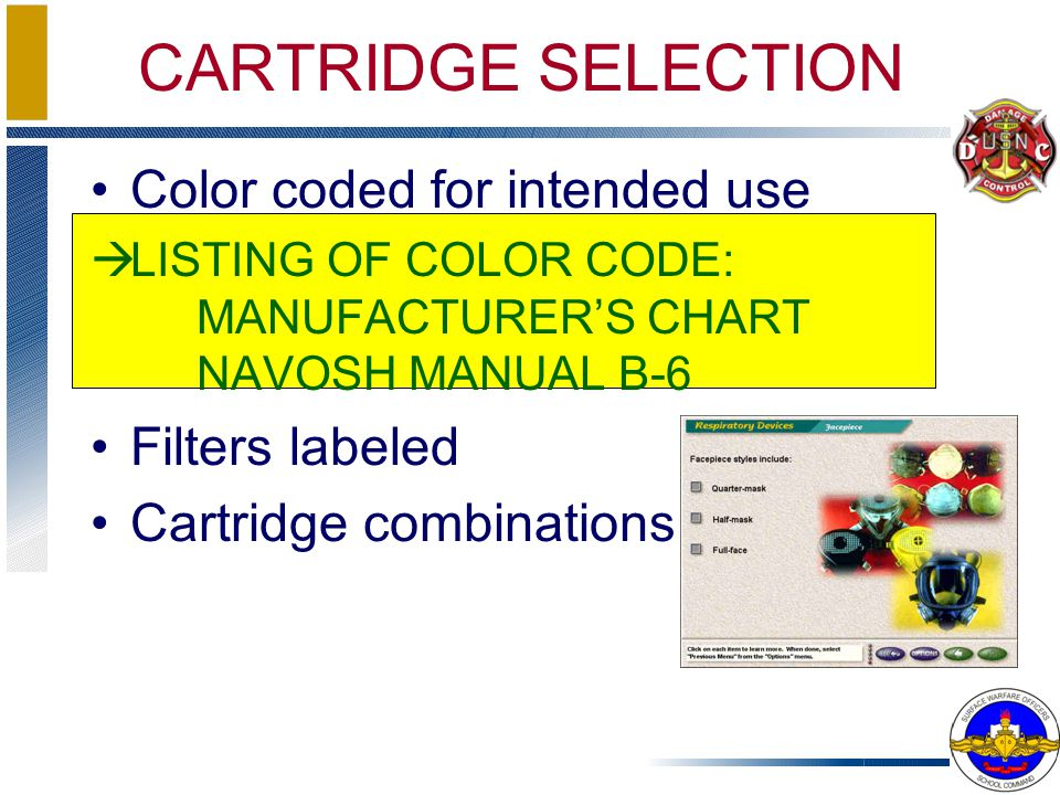 Color coded for intended use àLISTING OF COLOR CODE: MANUFACTURERS CHART NAVOSH MANUAL B-6 Filters labeled Cartridge combinations CARTRIDGE SELECTION
