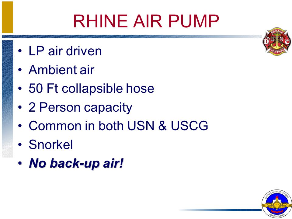 RHINE AIR PUMP LP air driven Ambient air 50 Ft collapsible hose 2 Person capacity Common in both USN & USCG Snorkel No back-up air!No back-up air!