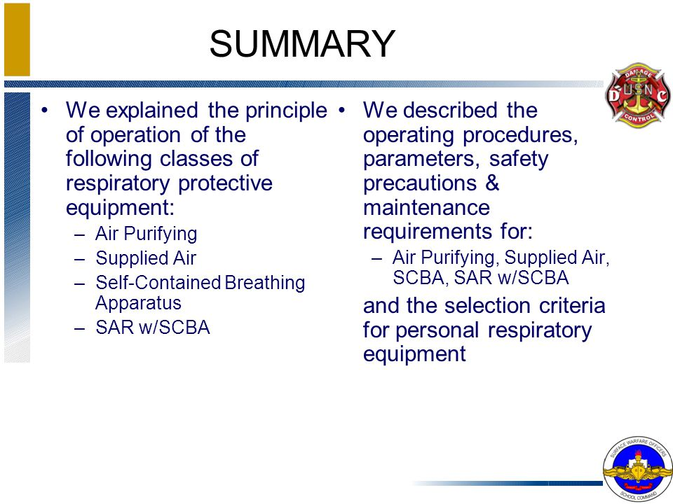 We explained the principle of operation of the following classes of respiratory protective equipment: –Air Purifying –Supplied Air –Self-Contained Bre