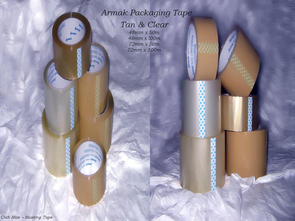 Armak Packaging Tape Tan & Clear 48mm x 50m 48mm x l00m 72mm x 50m 72mm x 100m Click Mice – Masking Tape