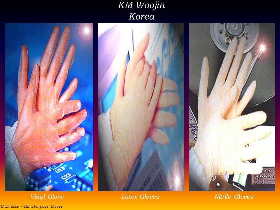 KM Woojin Korea Vinyl GloveLatex GlovesNitrile Gloves Click Mice – Multi-Purpose Gloves