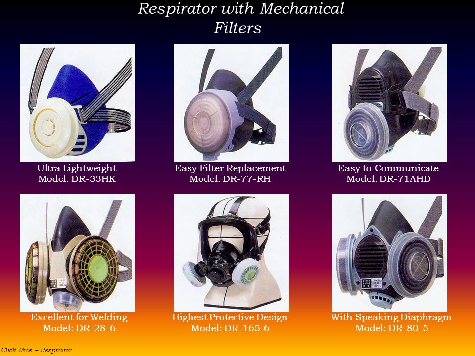 Respirator with Mechanical Filters Ultra Lightweight Model: DR-33HK Easy Filter Replacement Model: DR-77-RH Easy to Communicate Model: DR-71AHD Excell