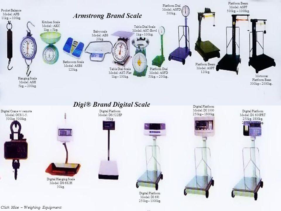 Click Mice – Weighing Equipment Pocket Balance Model: APB 11kg. – 100kg. Hanging Scale Model: ASH 5kg. – 200kg. Kitchen Scale Model:: AKC 1kg. – 5kg.