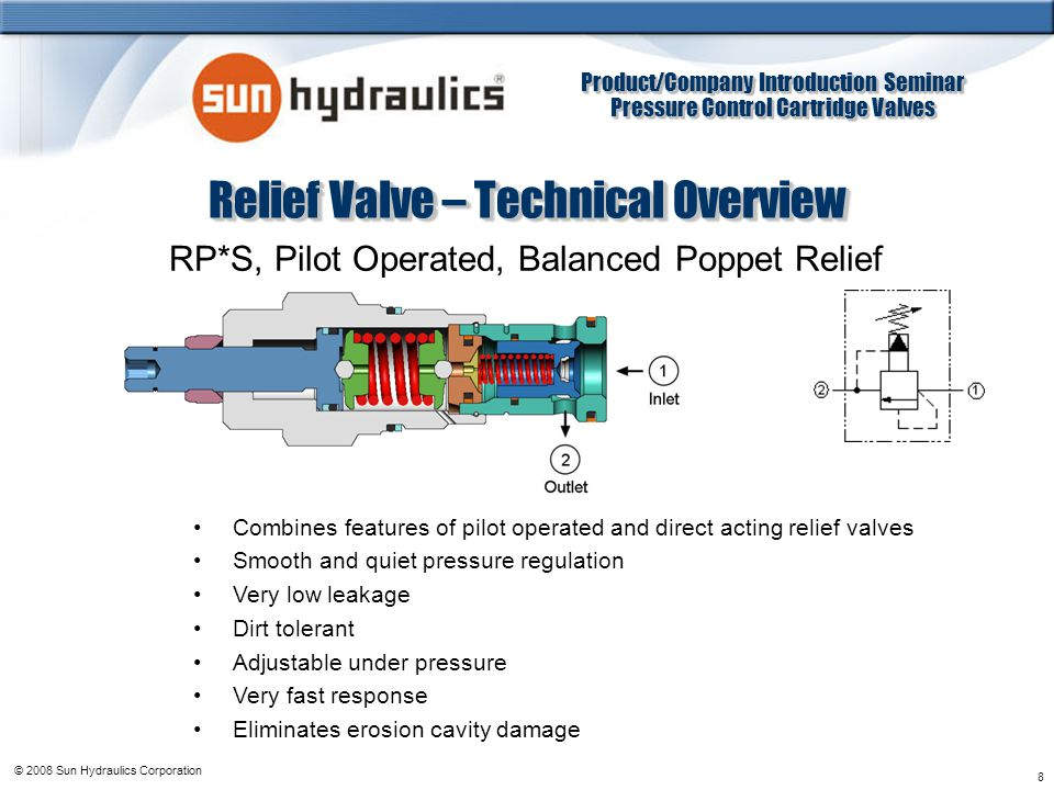 Product/Company Introduction Seminar Pressure Control Cartridge Valves Product/Company Introduction Seminar Pressure Control Cartridge Valves © 2008 Sun Hydraulics Corporation 8 Relief Valve – Technical Overview RP*S, Pilot Operated, Balanced Poppet Relief Combines features of pilot operated and direct acting relief valves Smooth and quiet pressure regulation Very low leakage Dirt tolerant Adjustable under pressure Very fast response Eliminates erosion cavity damage