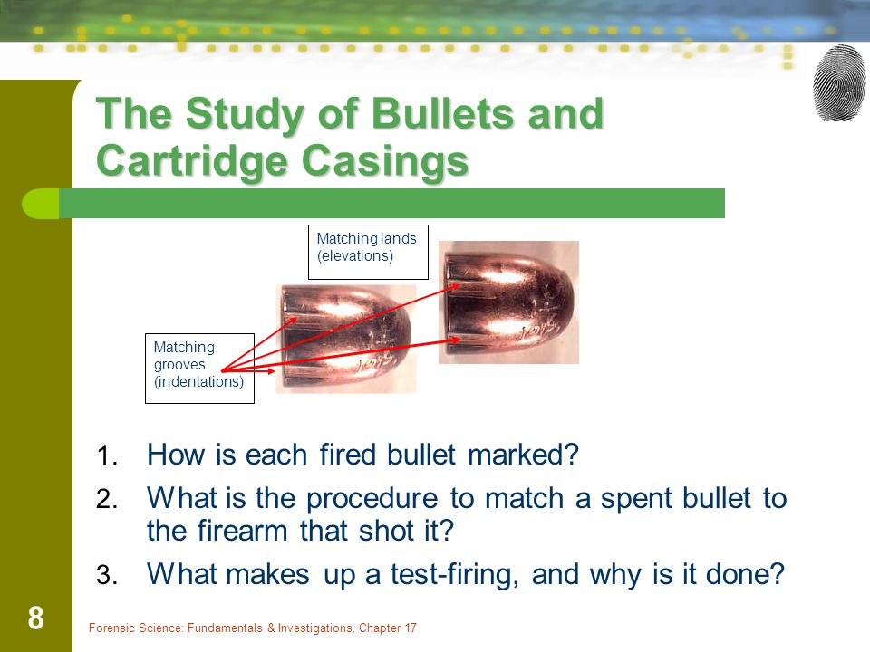 Forensic Science: Fundamentals & Investigations, Chapter 17 8 The Study of Bullets and Cartridge Casings 1.