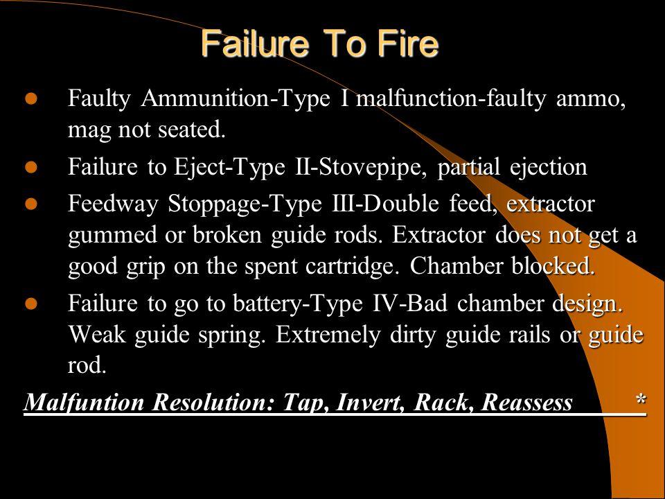 Failure To Fire Faulty Ammunition-Type I malfunction-faulty ammo, mag not seated. Faulty Ammunition-Type I malfunction-faulty ammo, mag not seated. Fa