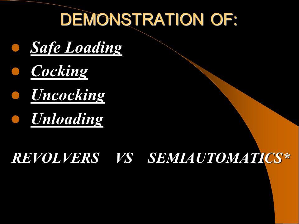 DEMONSTRATION OF: Safe Loading Safe Loading Cocking Cocking Uncocking Uncocking Unloading Unloading REVOLVERS VS SEMIAUTOMATICS*