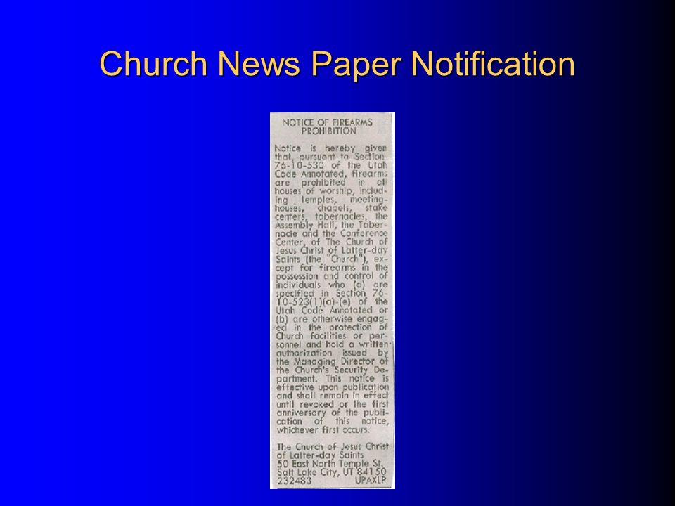 Church News Paper Notification