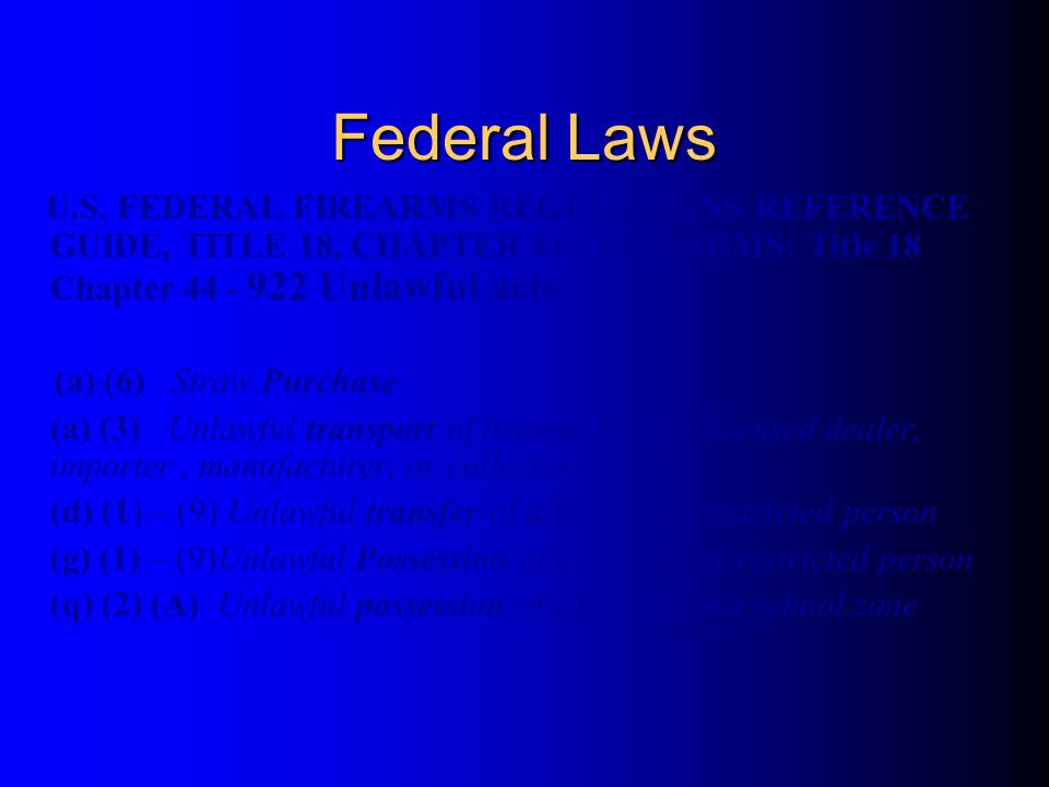 U.S. FEDERAL FIREARMS REGULATIONS REFERENCE GUIDE, TITLE 18, CHAPTER 44 – FIREARMS: Title 18 Chapter 44 - 922 Unlawful acts (a) (6) Straw Purchase (a)