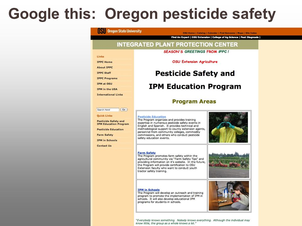 Google this: Oregon pesticide safety