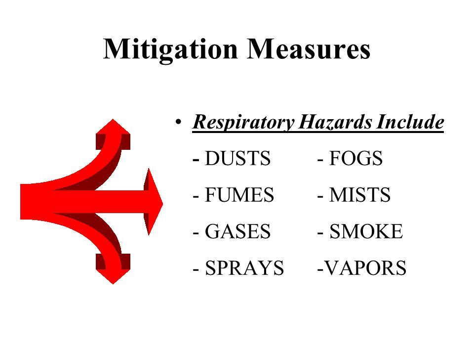 Mitigation Measures Respiratory Hazards Include - DUSTS- FOGS - FUMES- MISTS - GASES- SMOKE - SPRAYS-VAPORS