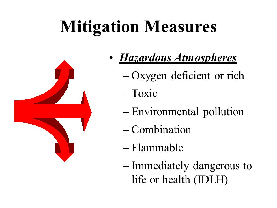 Mitigation Measures Hazardous Atmospheres –Oxygen deficient or rich –Toxic –Environmental pollution –Combination –Flammable –Immediately dangerous to