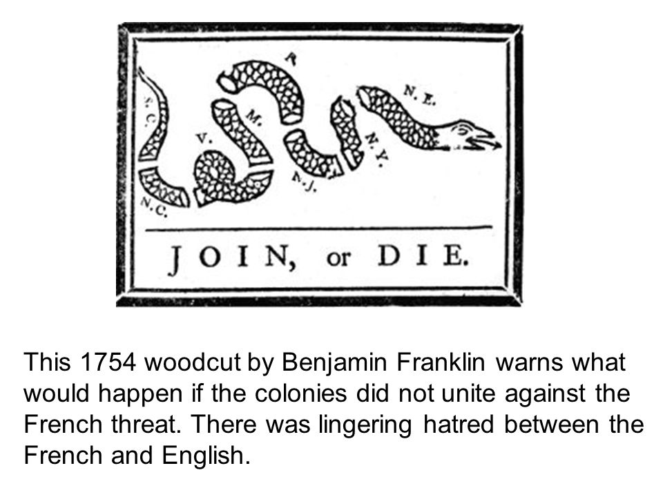 This 1754 woodcut by Benjamin Franklin warns what would happen if the colonies did not unite against the French threat.