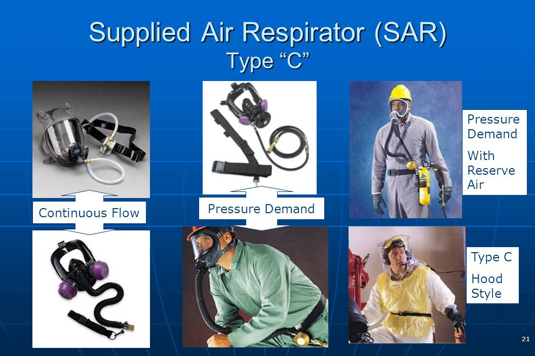 21 Supplied Air Respirator (SAR) Type C Pressure Demand With Reserve Air Type C Hood Style Continuous Flow Pressure Demand