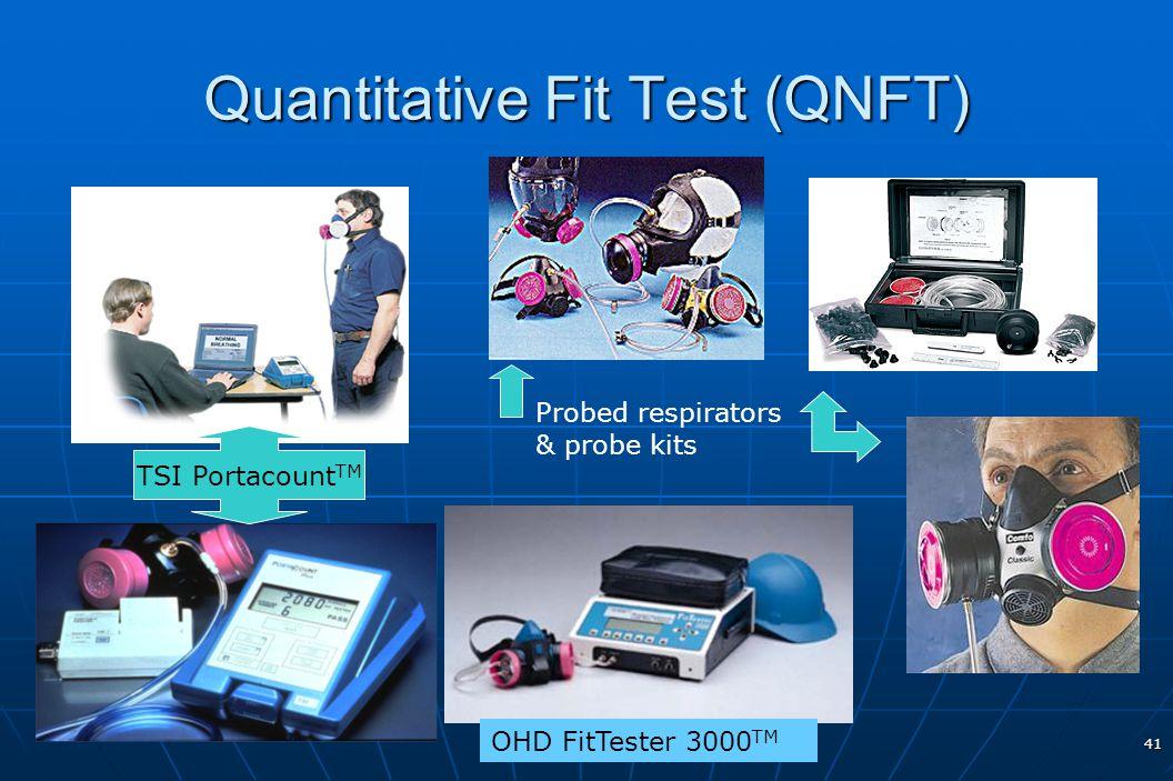 41 Quantitative Fit Test (QNFT) TSI Portacount TM OHD FitTester 3000 TM Probed respirators & probe kits