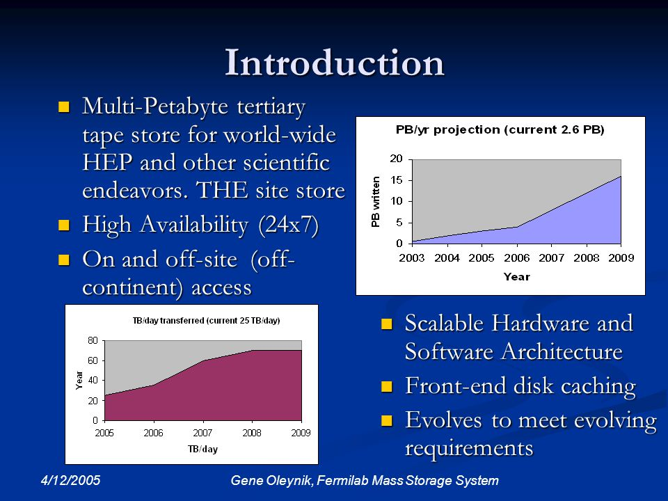 4/12/2005 Gene Oleynik, Fermilab Mass Storage System Introduction Multi-Petabyte tertiary tape store for world-wide HEP and other scientific endeavors