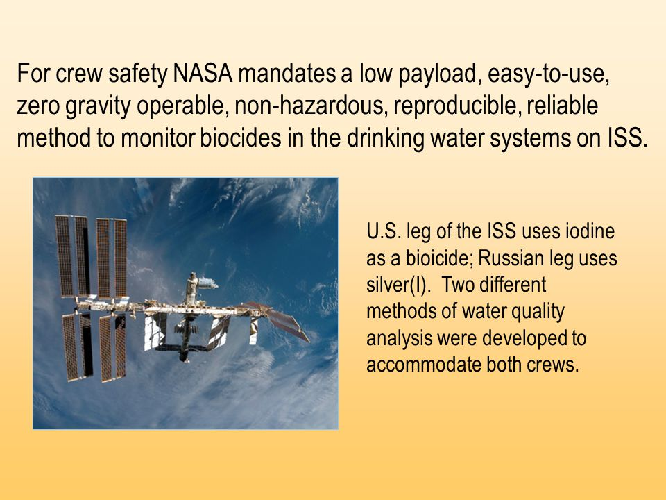 For crew safety NASA mandates a low payload, easy-to-use, zero gravity operable, non-hazardous, reproducible, reliable method to monitor biocides in the drinking water systems on ISS.