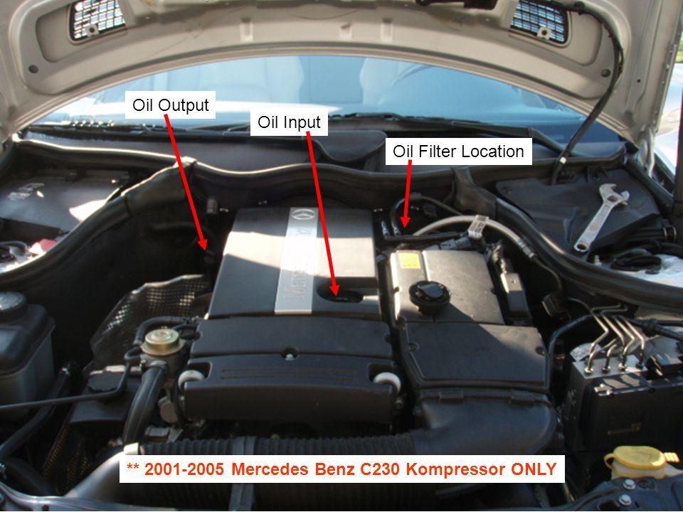 Oil Filter Location Oil Input Oil Output ** 2001-2005 Mercedes Benz C230 Kompressor ONLY