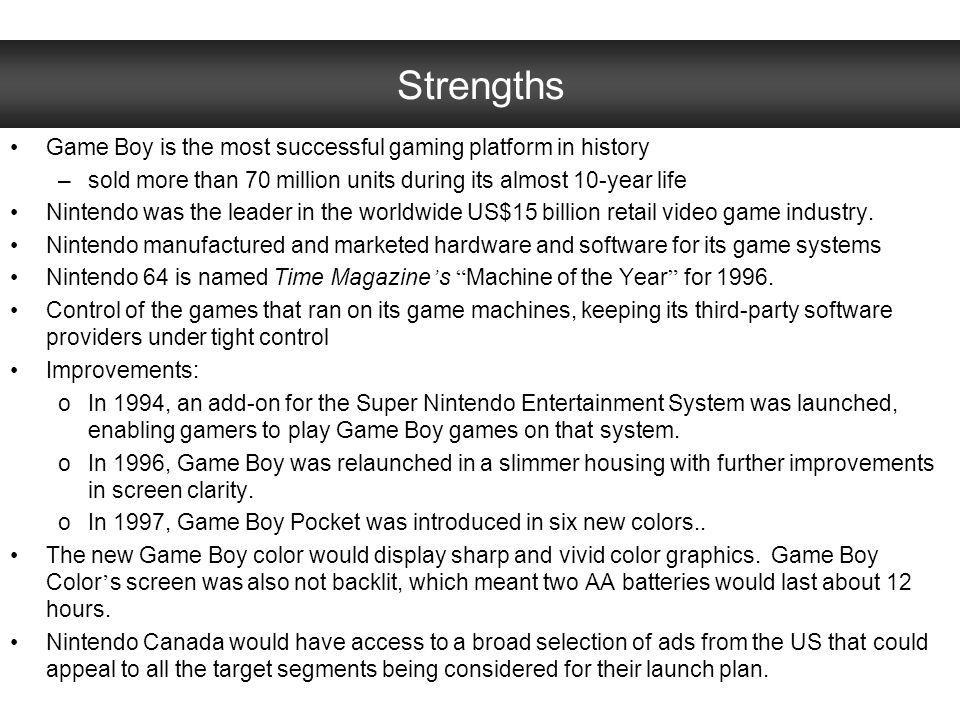 Issue #4: Product Alternative #2: do not continue to offer the black and white version of the product –Pros: Avoid losing money producing the black an white version Avoid cannibalizing sales of Game Boy color –Cons: Excludes consumers looking for a more affordable option
