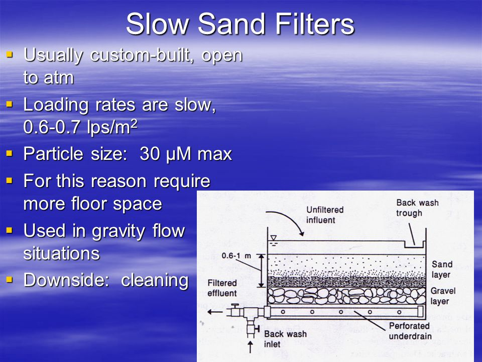 Slow Sand Filters Usually custom-built, open to atm Usually custom-built, open to atm Loading rates are slow, 0.6-0.7 lps/m 2 Loading rates are slow,