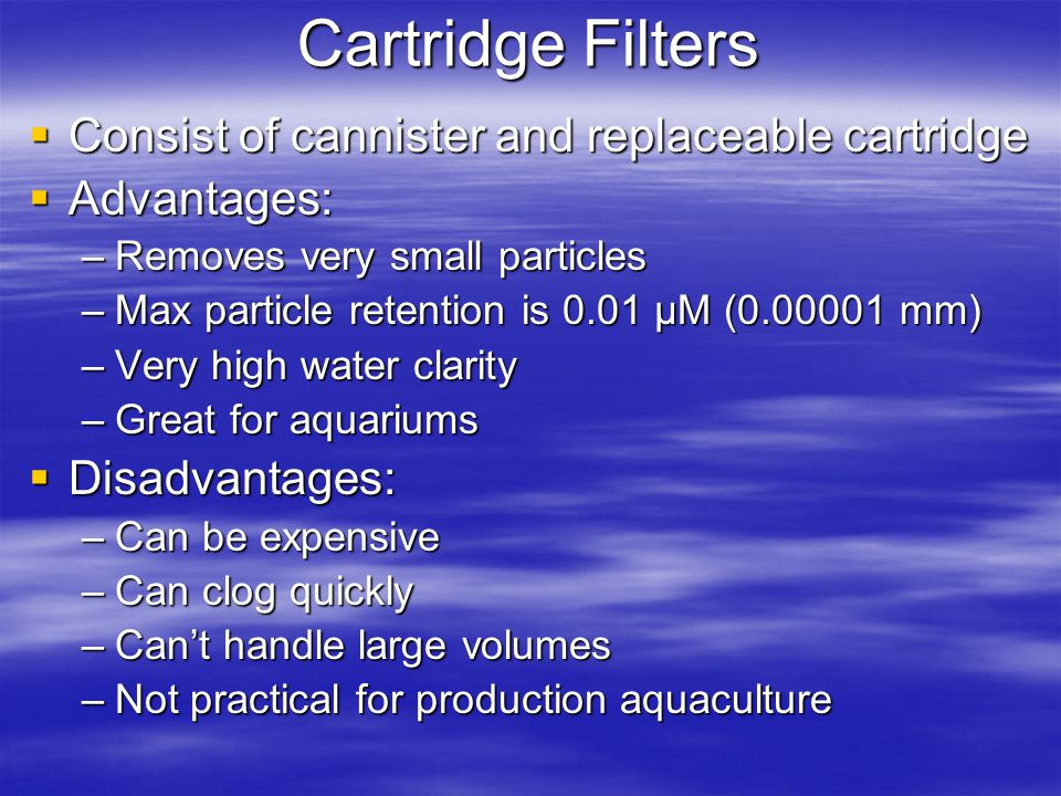 Cartridge Filters Consist of cannister and replaceable cartridge Consist of cannister and replaceable cartridge Advantages: Advantages: –Removes very