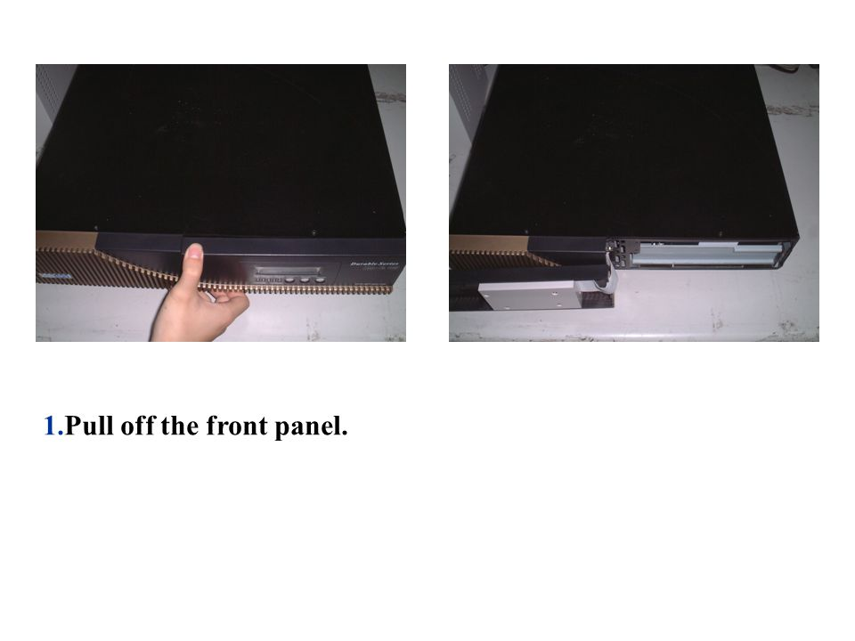 2. Remove the battery retaining plate. 3. Pull out the battery cartridge.