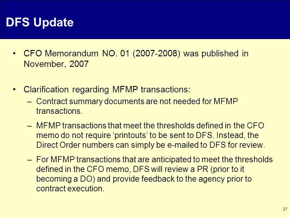 27 DFS Update CFO Memorandum NO.