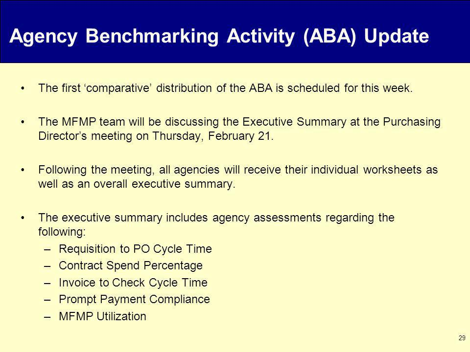 29 Agency Benchmarking Activity (ABA) Update The first comparative distribution of the ABA is scheduled for this week.