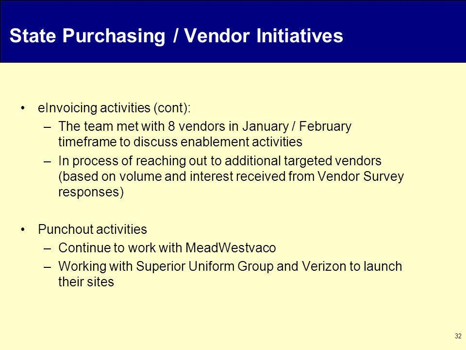 32 State Purchasing / Vendor Initiatives eInvoicing activities (cont): –The team met with 8 vendors in January / February timeframe to discuss enablement activities –In process of reaching out to additional targeted vendors (based on volume and interest received from Vendor Survey responses) Punchout activities –Continue to work with MeadWestvaco –Working with Superior Uniform Group and Verizon to launch their sites