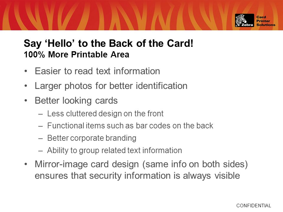 CONFIDENTIAL Say Hello to the Back of the Card.