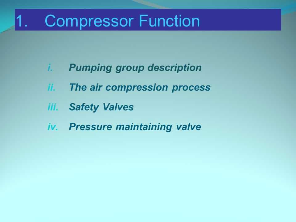 1.Compressor Function i.Pumping group description ii.