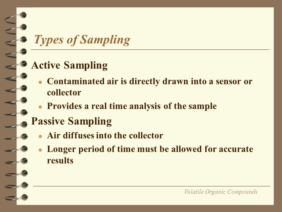 Volatile Organic Compounds Sampling methods Principles of Sampling Collectors 1.Air displacement 2.Condensation 3.Gas washing or absorption 4.Adsorption