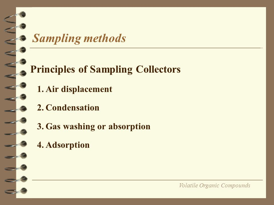 Volatile Organic Compounds Sampling methods Principles of Sampling Collectors 1.Air displacement 2.Condensation 3.Gas washing or absorption 4.Adsorpti