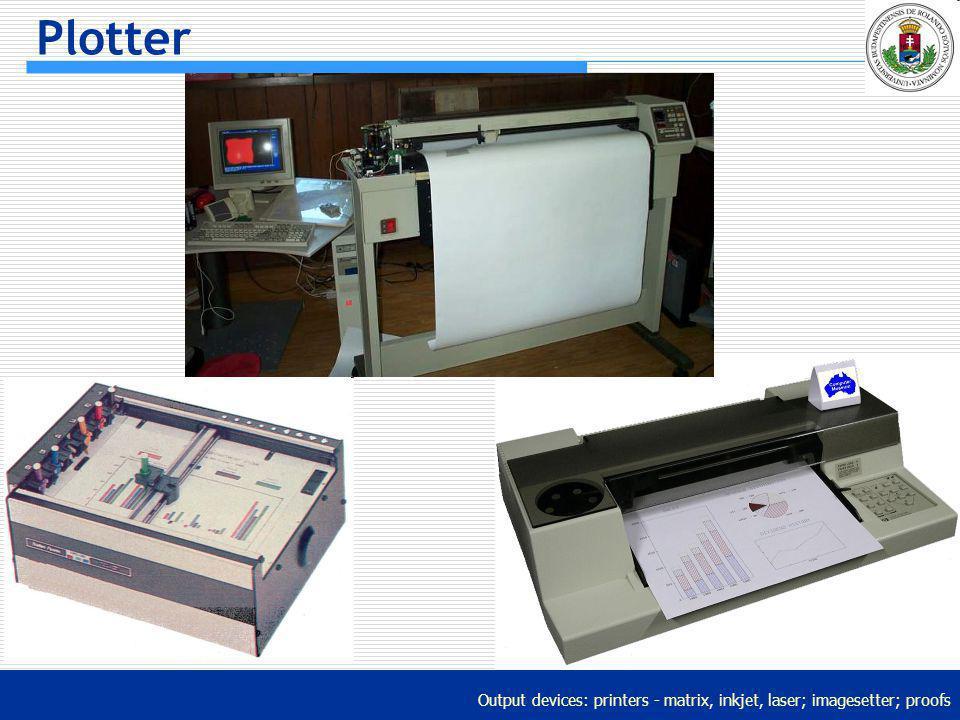Output devices: printers - matrix, inkjet, laser; imagesetter; proofs Plotter
