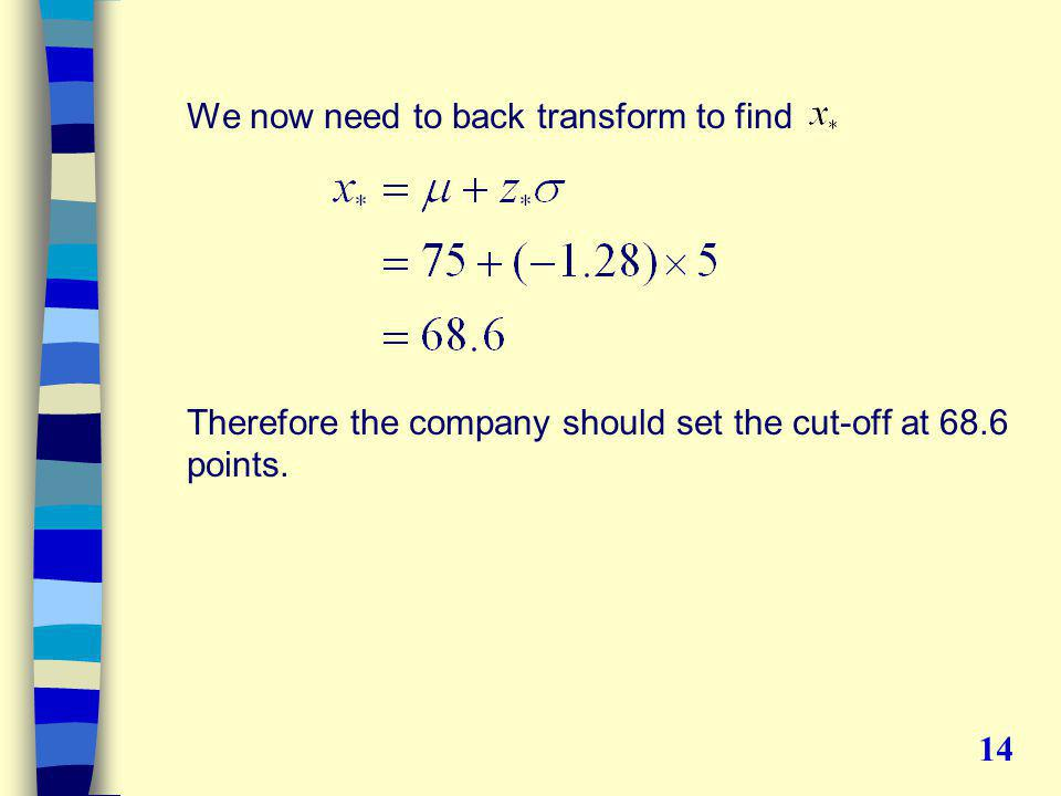 We now need to back transform to find Therefore the company should set the cut-off at 68.6 points.