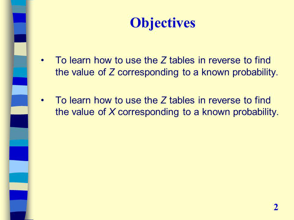 Objectives To learn how to use the Z tables in reverse to find the value of Z corresponding to a known probability.