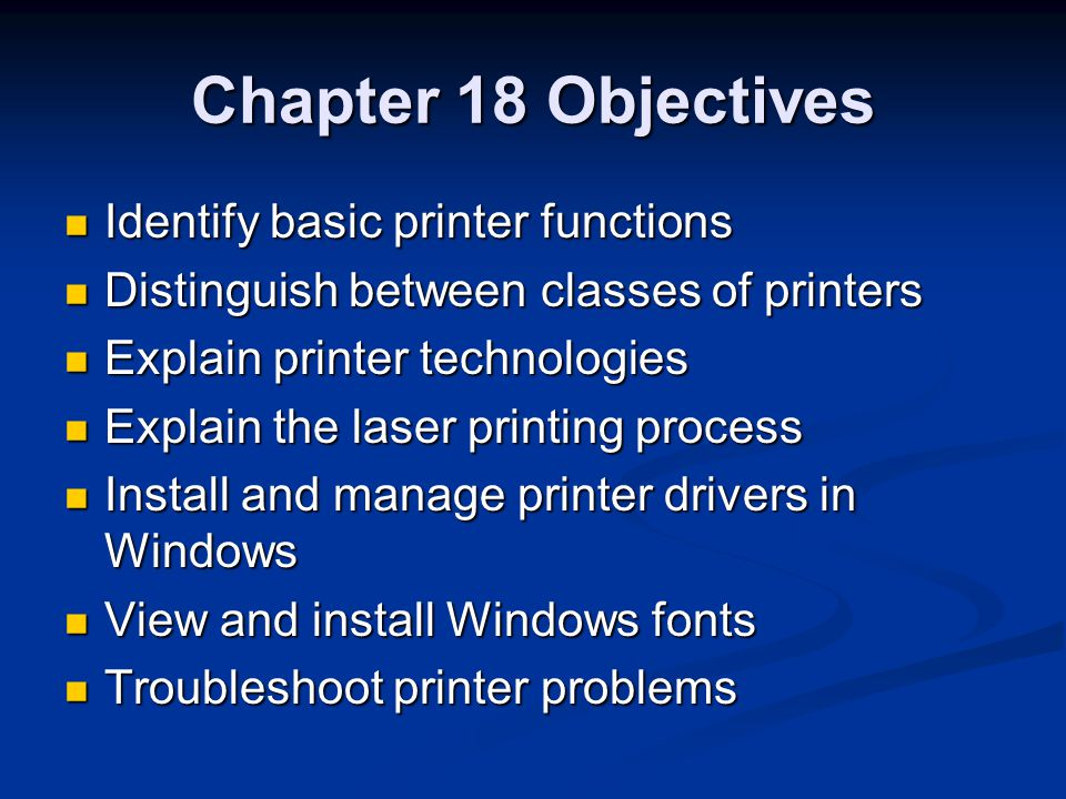 Basic Printing Functions Receive data from the PC through an I/O interface Receive data from the PC through an I/O interface Store the data in printer RAM Store the data in printer RAM Convert the data into print instructions Convert the data into print instructions Feed the paper in and out Feed the paper in and out Store and dispense ink or toner Store and dispense ink or toner Transfer the image onto the paper Transfer the image onto the paper