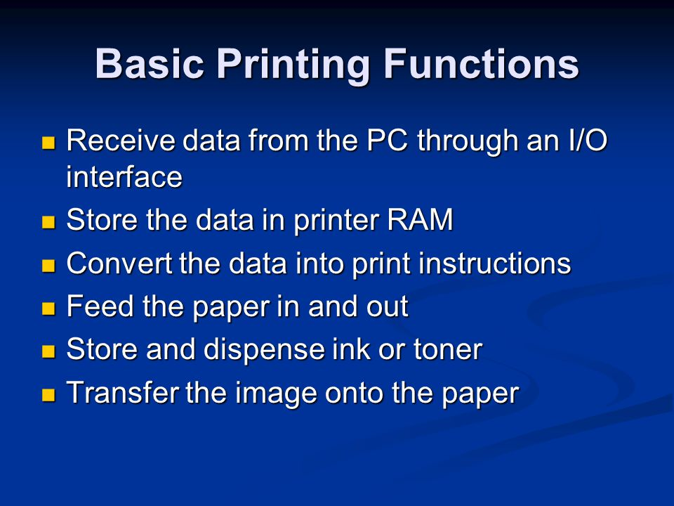 Printer Interfaces Legacy Parallel Legacy Parallel SPP (Standard Parallel Port) SPP (Standard Parallel Port) Bidirectional Bidirectional EPP EPP ECP ECP USB Network Infrared (rare) Legacy serial (obsolete)